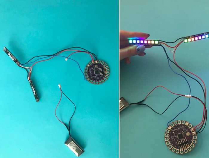 Lilypad - Lipo Connection Unicorn Horn With NeoPixel LEDs & Arduino Lilypad