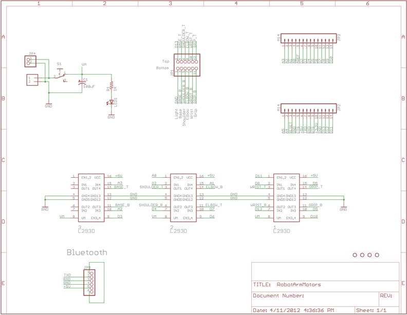 """Layout & Schematic Make Wired Robotic Arm Edge to """"Wireless"""" using DIY Arduino and XBee"""