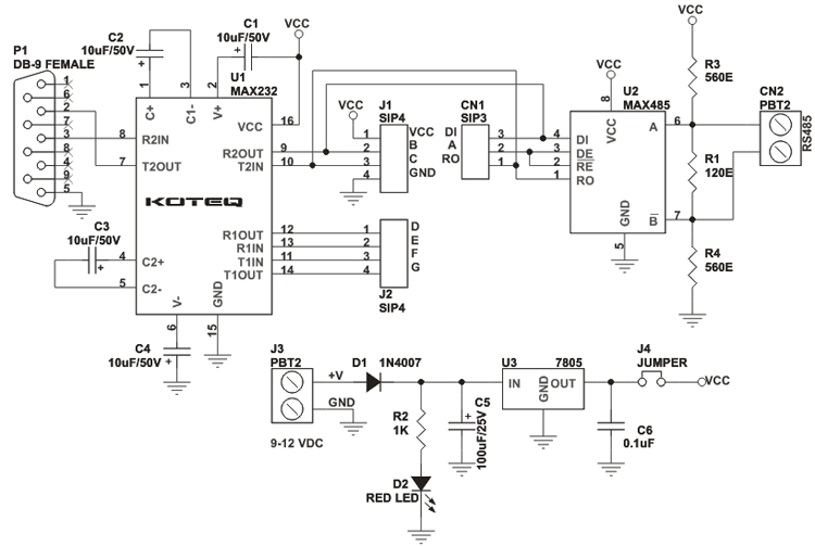 Schematic RS232 to RS485 Module