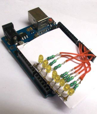 Connect the soldered LEDs and resistors with Arduino UNO