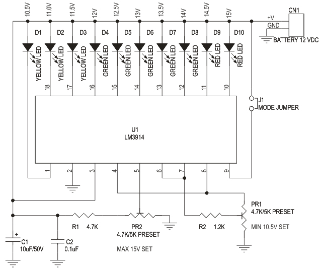 Schematic 12V Lead Acid Battery Voltage Monitor
