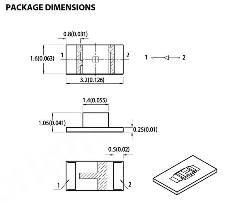Schematic 1mm Height Smd Led Can Be Placed Upside Down