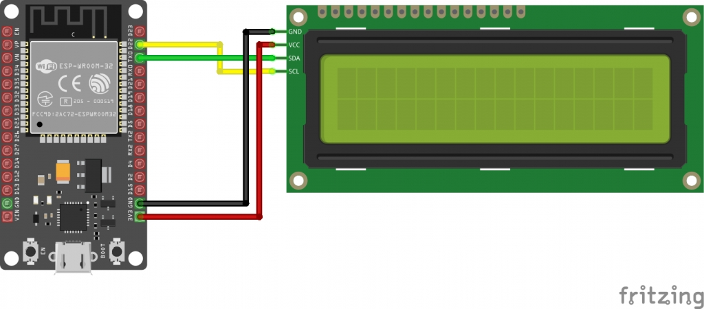 Schematic Using a 16×2 I2c Lcd Display With Esp32